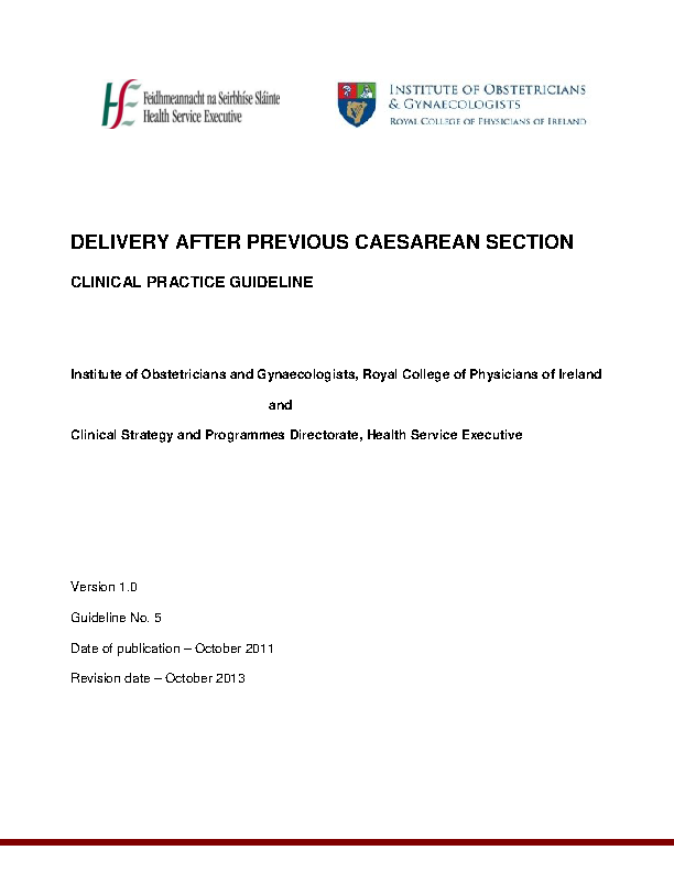 Delivery after Previous Caesarean Section front page preview
