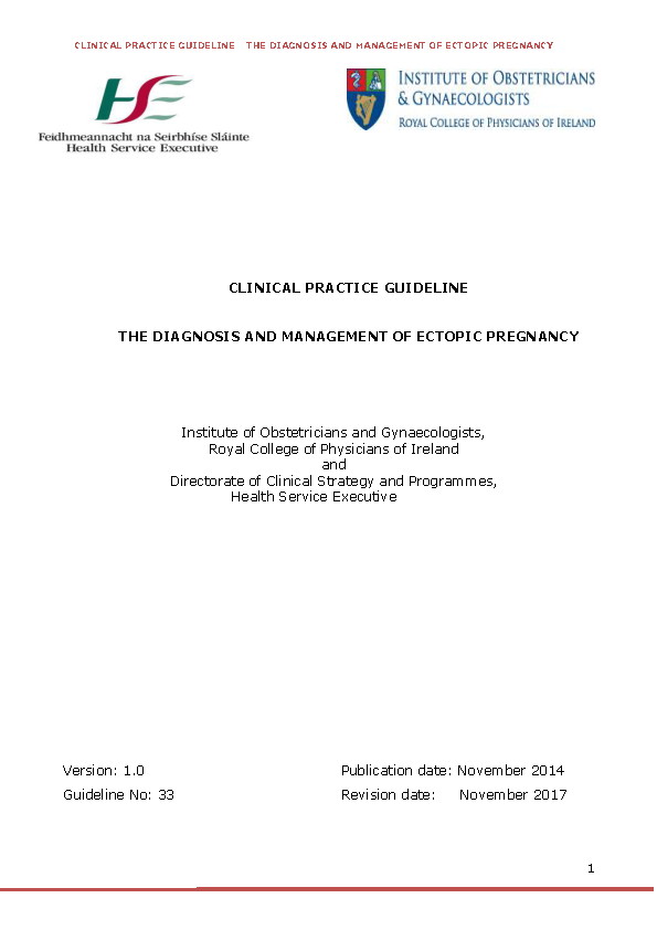 Final Ectopic Pregnancy Guidelines front page preview