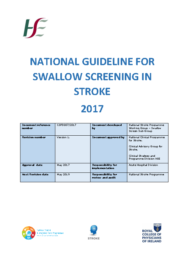National Guideline for Swallow Screening in Stroke HSE  2017 front page preview image