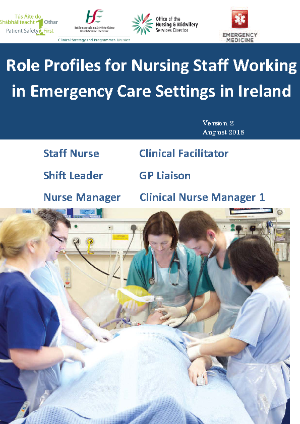 Role Profiles for Nursing Staff Working in Emergency Care Settings in Ireland front page preview image