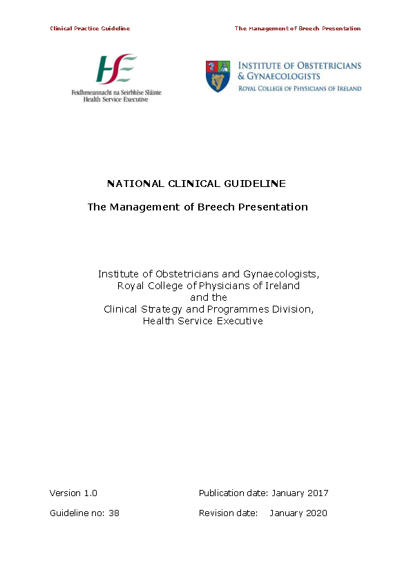 The Management of Breech Presentation front page preview
