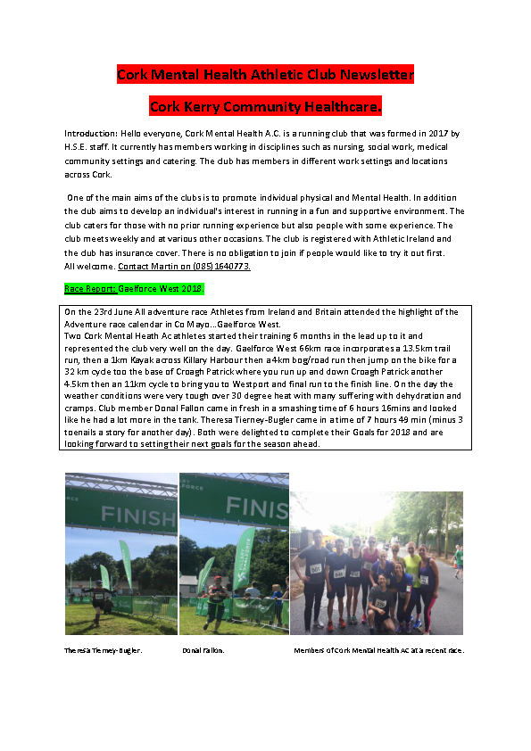 Cork Mental Health Athletic Club Newsletter July 2018 front page preview image
