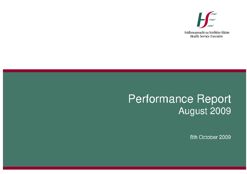 August 2009 Performance Report front page preview