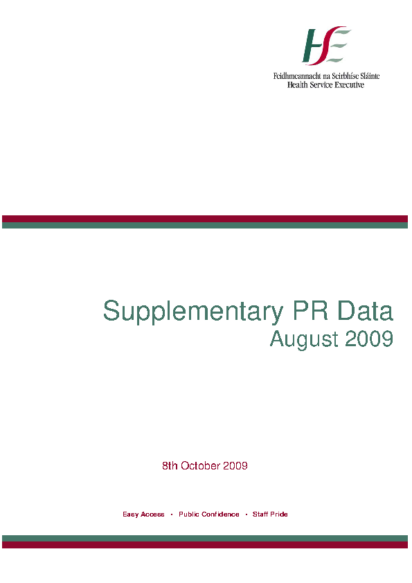 August 2009 Supplementary Report front page preview