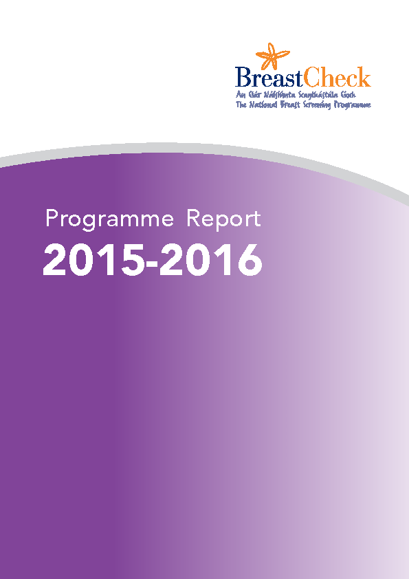 BreastCheck Programme Report 2015/16 front page preview