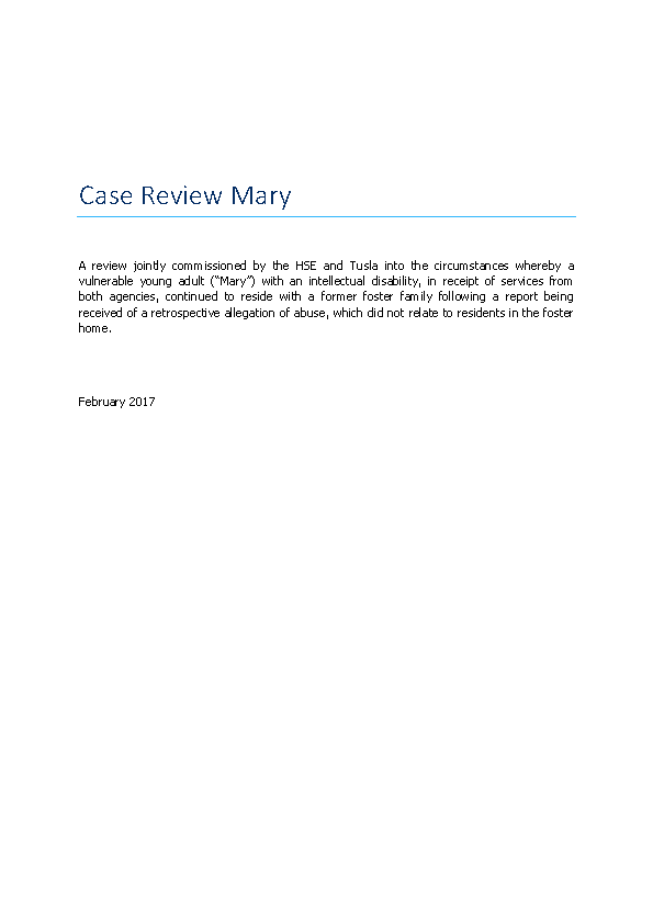 Case Review Mary front page preview image
