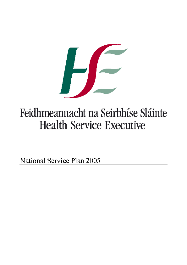 HSE National Service Plan 2005 front page preview
