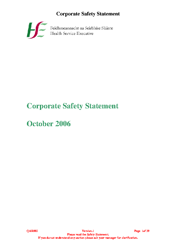 HSE Corporate Safety Policy and Corporate Safety Statement front page preview image