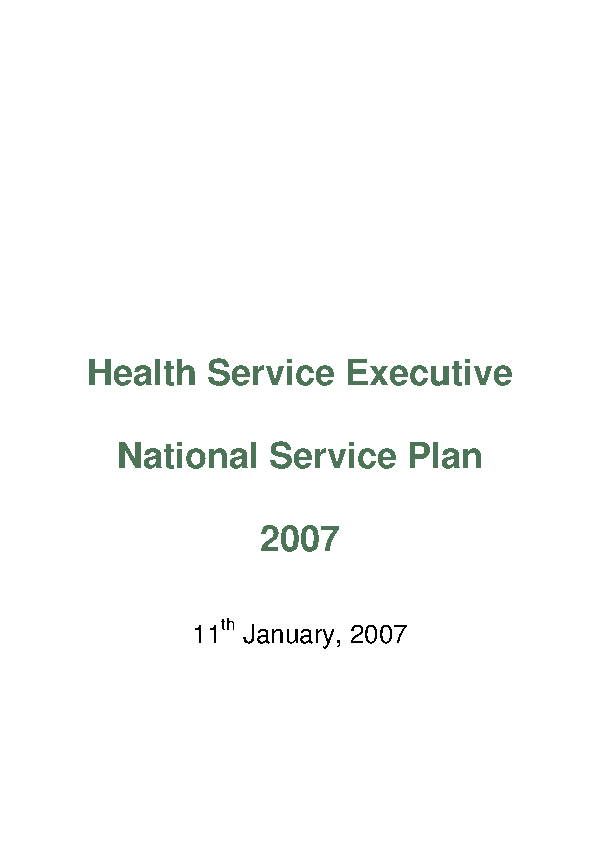 HSE National Service Plan 2007 front page preview