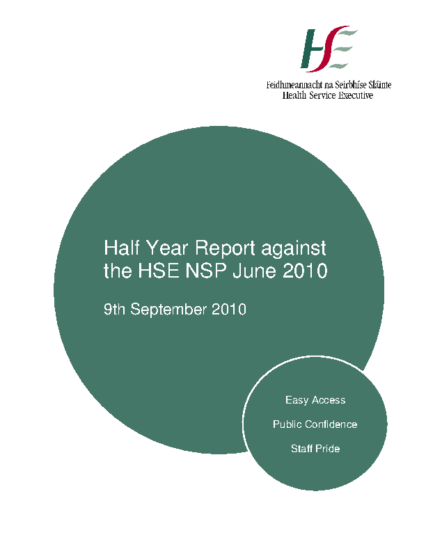 June 2010 Half Yearly Report front page preview