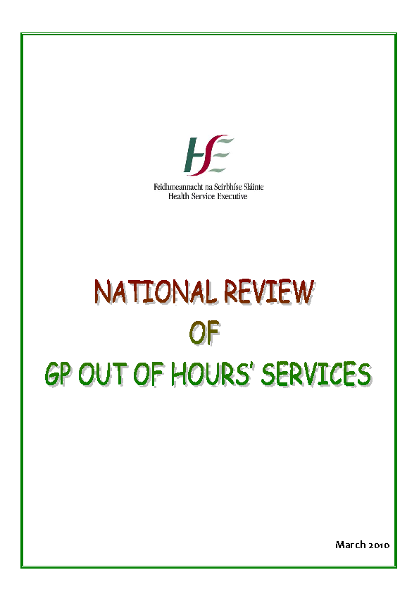 Review of GP Out of Hours Services front page preview