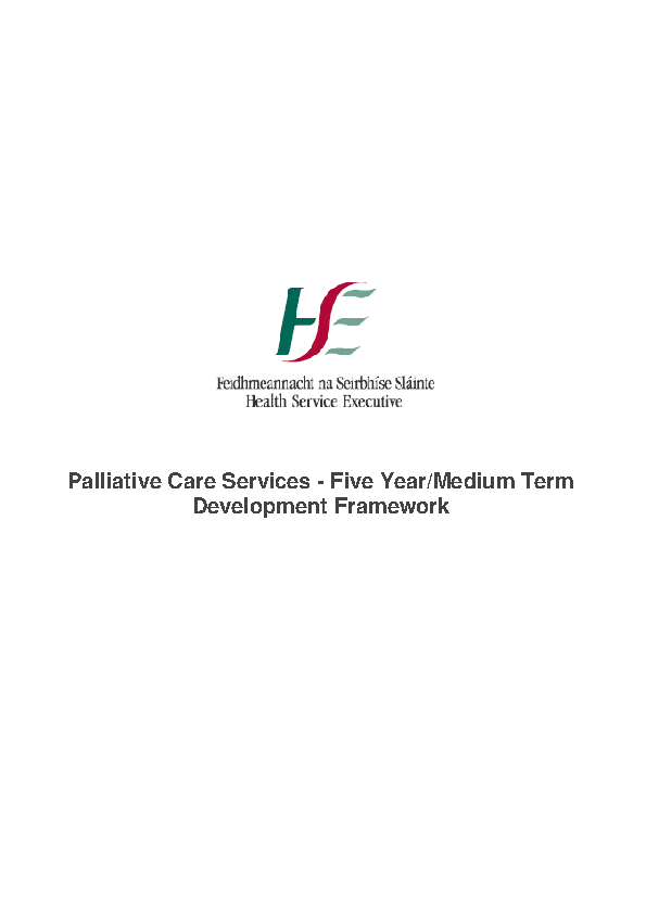 Palliative Care Five Year/Medium Term Development Framework front page preview