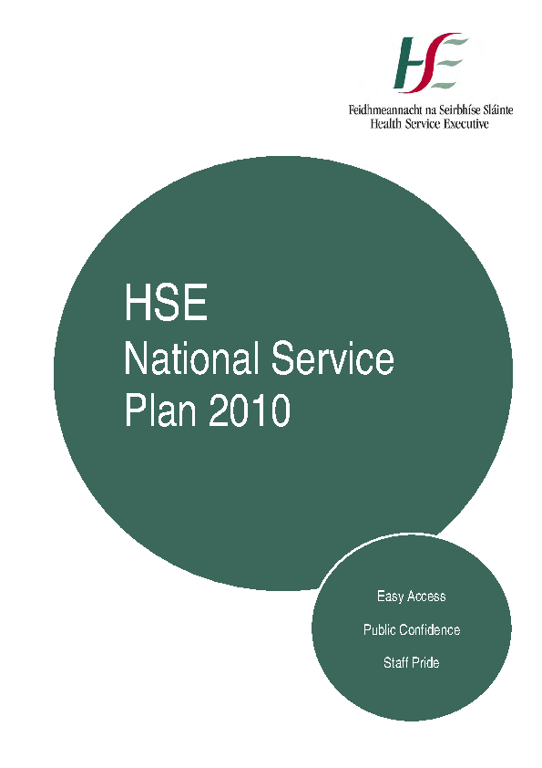HSE National Service Plan 2010 front page preview