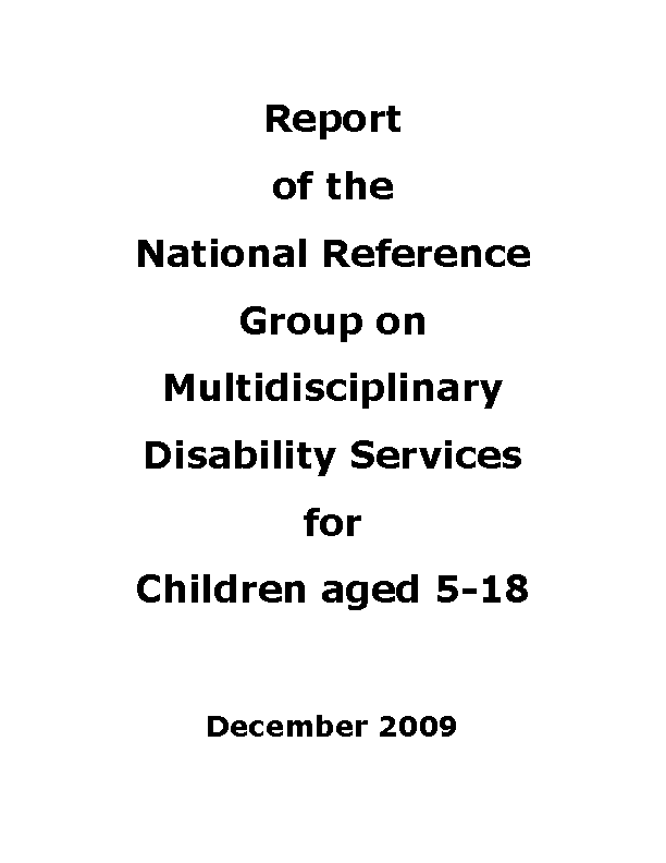 Report of the National Reference Group on Multidisciplinary Disability Services for Children aged 5-18 front page preview