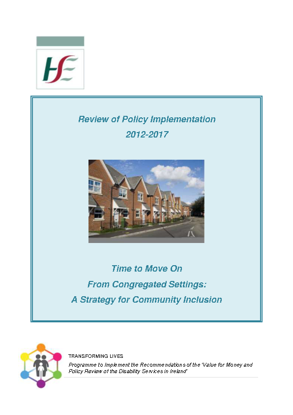 Review of Time to Move on Policy Implementation 2012-2017 front page preview