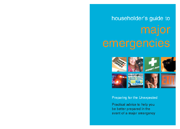 Preparing for the unexpected, householders guide to major emergencies front page preview
