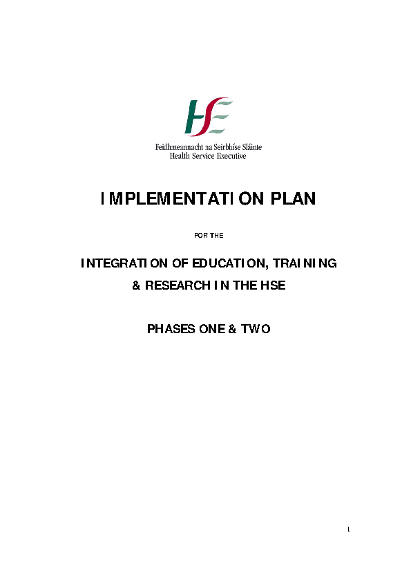 Implementation Plan for the Integration of Education, Training & Research in the HSE Phases One & Two front page preview