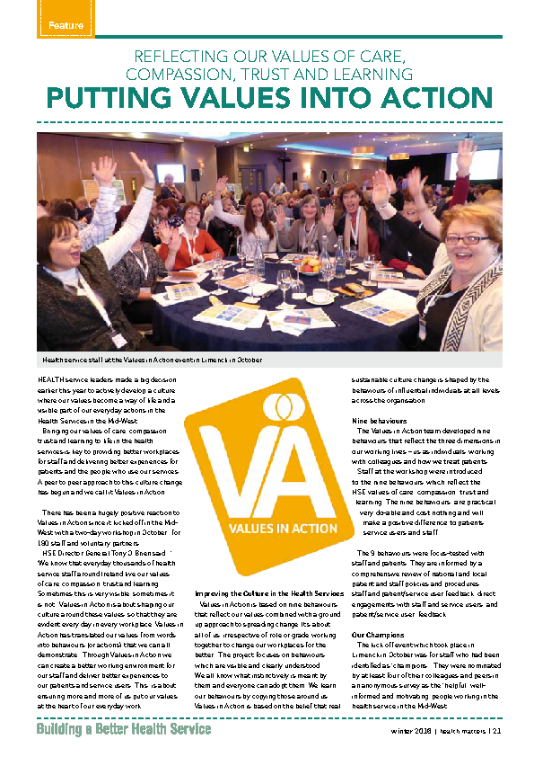 Values in Action front page preview image