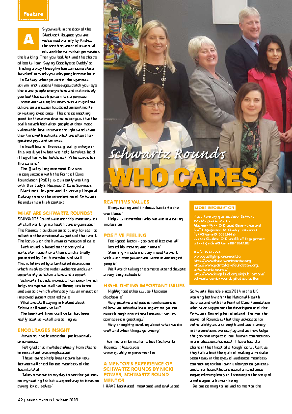 Who cares for the carers front page preview image