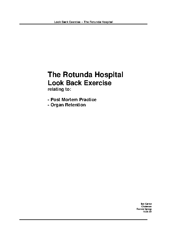 Look Back Review of Post Mortem Services, Rotunda Hospital front page preview