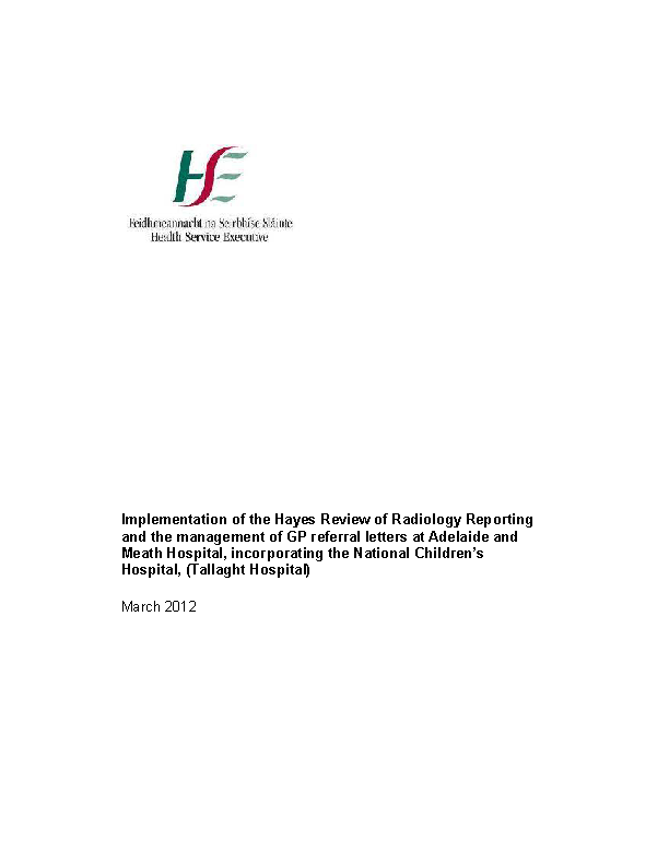 Progress Report on Implementation of Tallaght Hospital Review 2010 front page preview