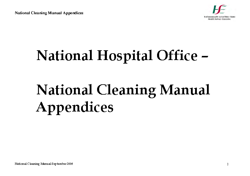 HSE National Cleaning Standards Manual Appendices front page preview
