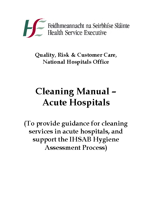 HSE National Cleaning Standards Manual front page preview