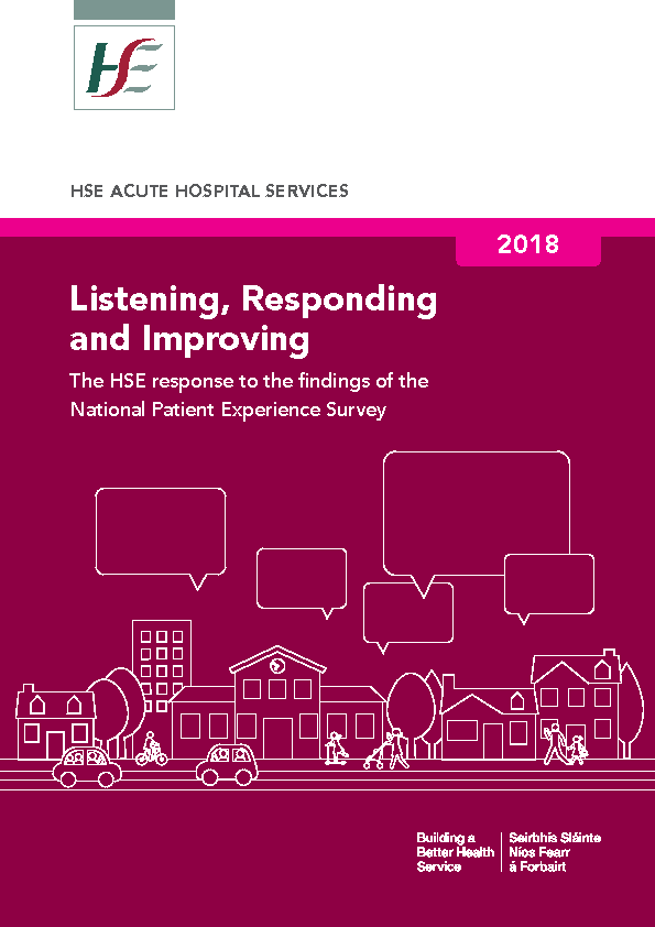 Listening Responding and Improving – HSE Response to the Findings of the National Patient Experience Survey 2018 front page preview image
