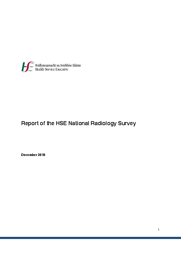 National Radiology Survey 2010 front page preview