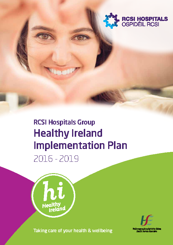 RCSI Healthy Ireland Implementaiton Plan front page preview image