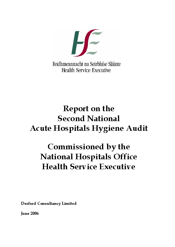 Report of the 2nd National Acute Hospital Hygiene Audit front page preview