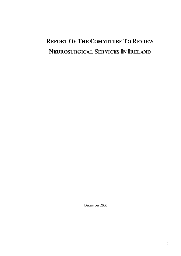 Report of the Committee to Review Neurosurgical Services in Ireland front page preview