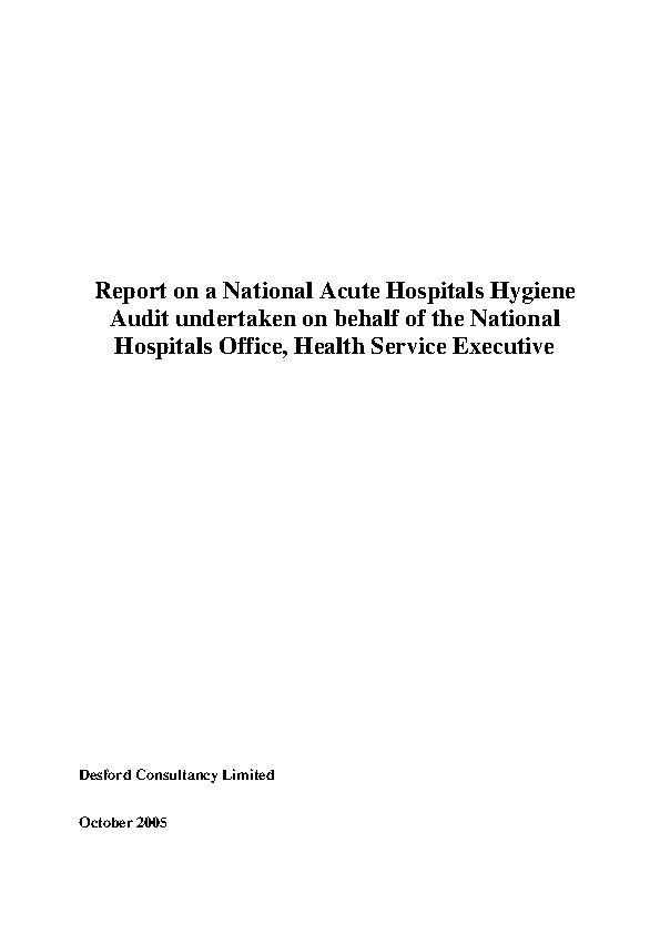Report on the 1st National Acute Hospital Hygiene Audit front page preview image