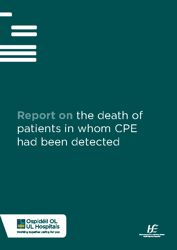 Report on the death of patients in whom CPE had been detected front page preview