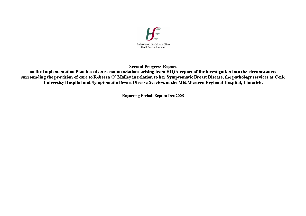 2nd Progress Report - Rebecca O'Malley - HIQA - Sep to Dec 08 front page preview