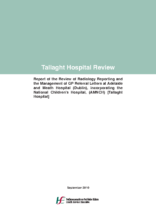 Tallaght Hospital Review 2010 front page preview