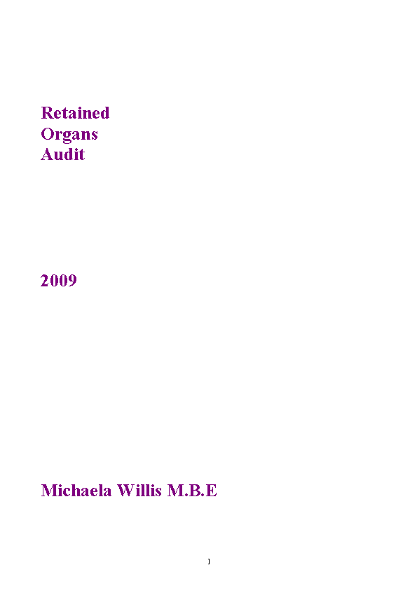 Retained Organs Audit 2009 front page preview