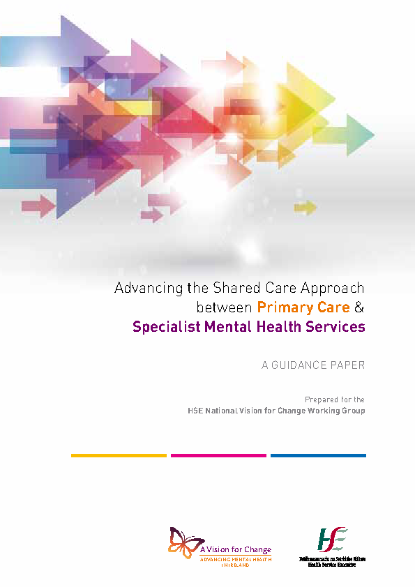 Advancing the Shared Care Approach between Primary Care & Specialist Mental Health Services front page preview
