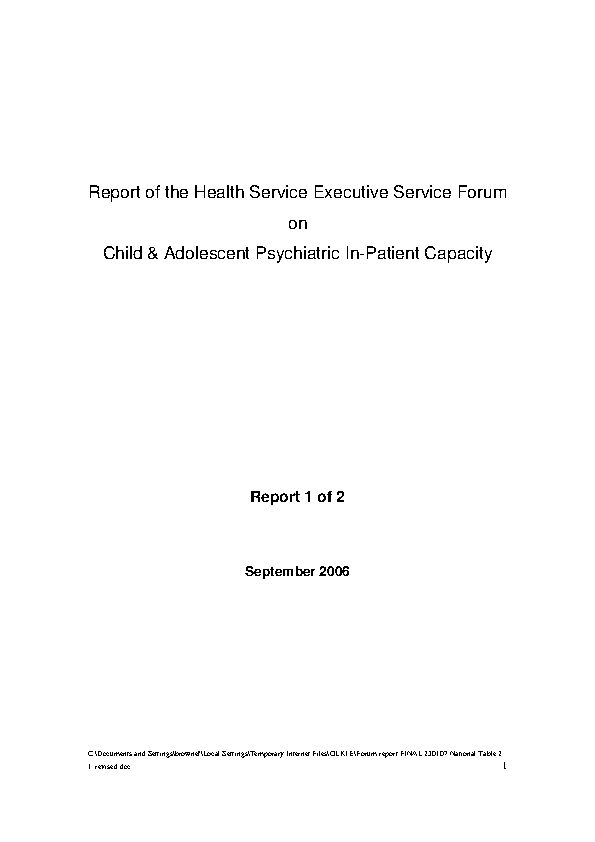 Report of HSE Forum on Child & Adolescent Psychiatric In-Patient Capacity front page preview