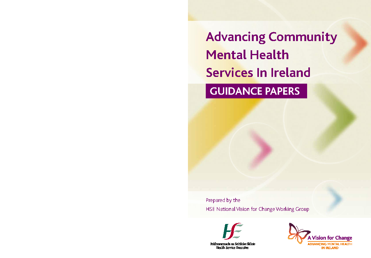 Advancing Community Mental Health Services - Guidance Papers front page preview