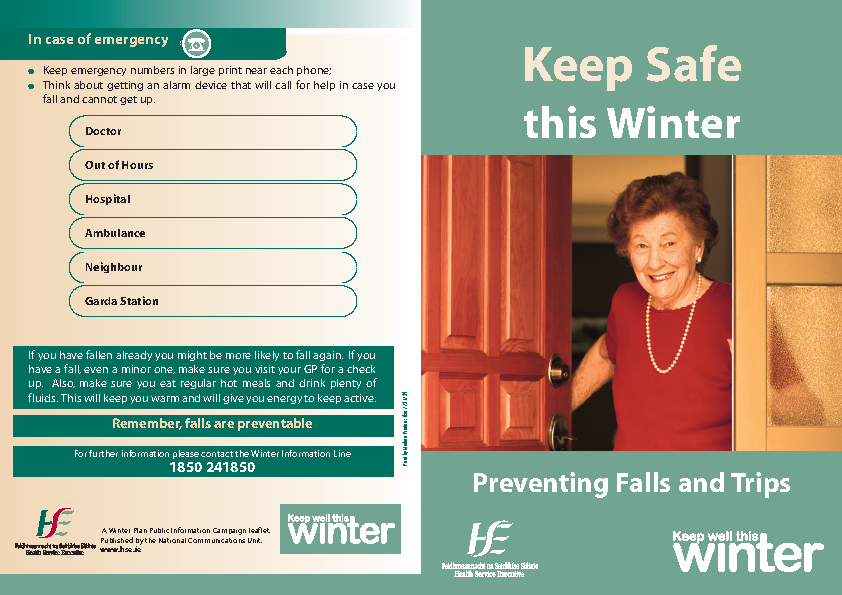 Preventing Falls - Information Leaflet front page preview