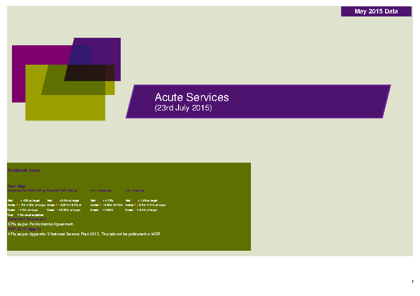 May 2015 Acute Services Data Report front page preview