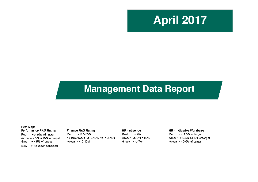 April 2017 Management Data Report front page preview image