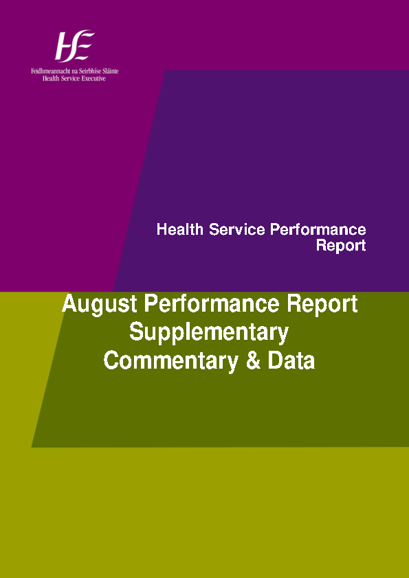 August 2015 Performance Report Supplementary Commentary and Data front page preview