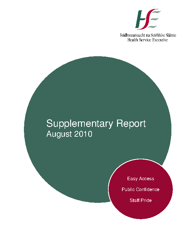 August 2010 Supplementary Report front page preview