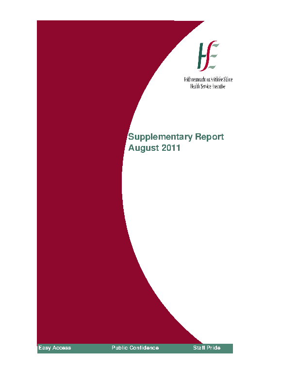August 2011 Supplementary Report front page preview