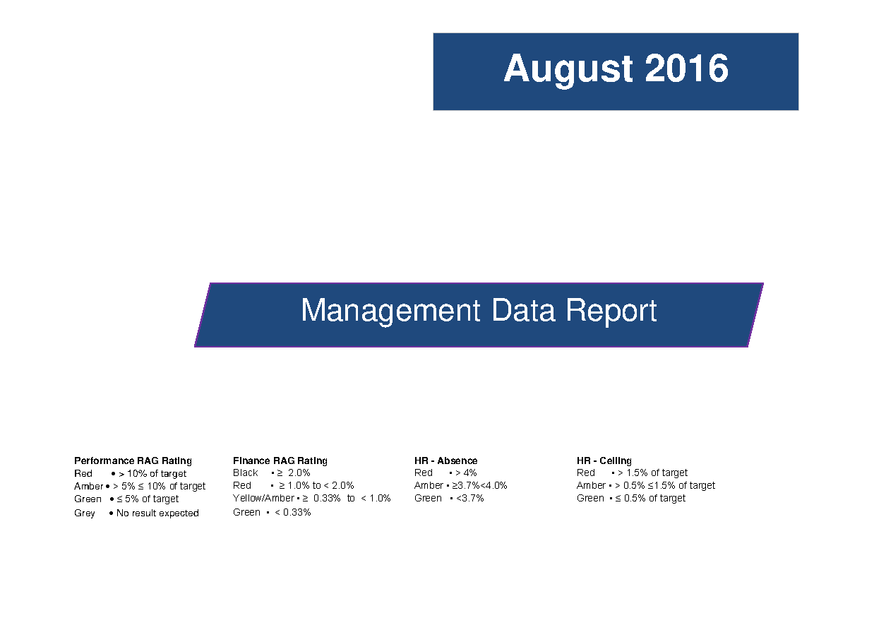 August 2016 Management Data Report front page preview