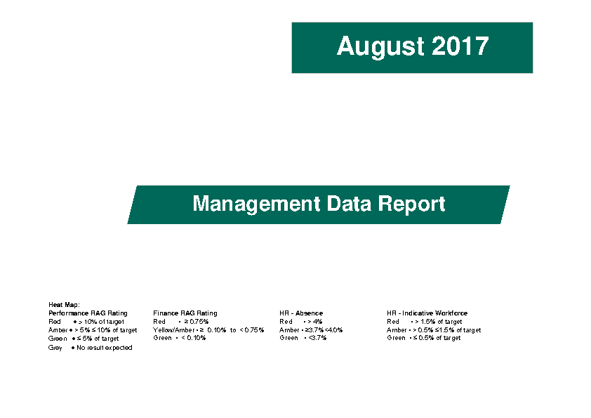 August 2017 Management Data Report front page preview image