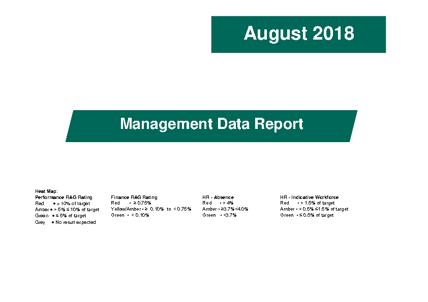 August 2018 Management Data Report front page preview image