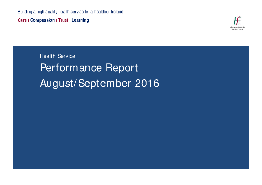 August September 2016 Performance Report  front page preview